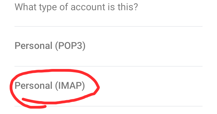 Select IMAP from the next option