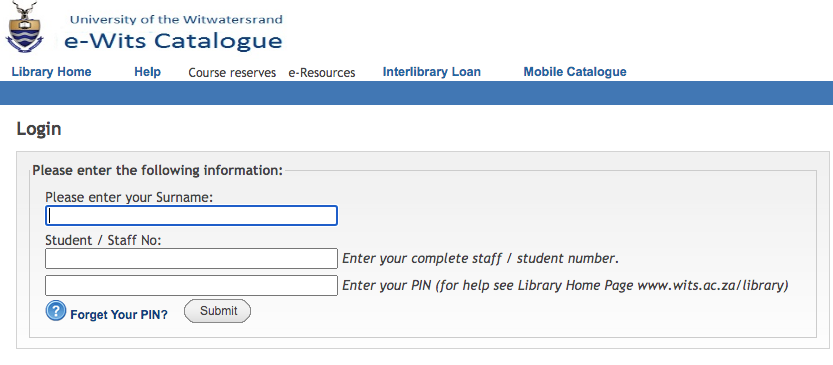 wits library login page